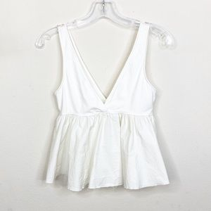 Urban Outfitters White Peplum Tank Top Small